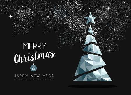 Vrolijke Kerstmis en Gelukkig Nieuwjaar chique zilver kerstboom in hipster laag poly driehoek stijl. Ideaal voor wenskaart of elegante uitnodiging van de vakantiepartij.
