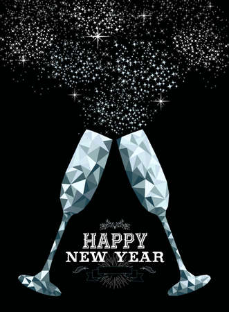 Gelukkige nieuwe jaar buitensporige zilveren glazen die een toost in hipster driehoeks lage polystijl maken. Ideaal voor wenskaart of elegante uitnodiging voor een feestje.