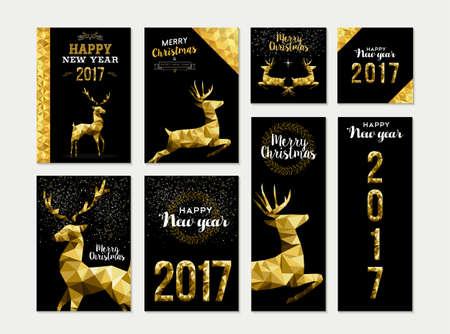 Set van vrolijk kerstfeest Gelukkig Nieuwjaar 2017 sjabloon goud ontwerpen met herten en viering elementen. Ideaal voor xmas wenskaart, uitnodiging vakantie, markeringen of etiket.