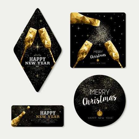 Set of merry christmas happy new year gold xmas template designs with bottle and champagne glass in low poly style. Ideal for greeting card, invitation, label or tag.