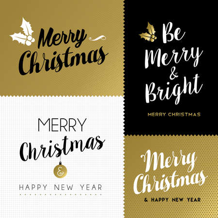 christmas poster: Modern set of christmas and new year lettering designs for holiday greeting card with gold color typography decoration. EPS10 vector.