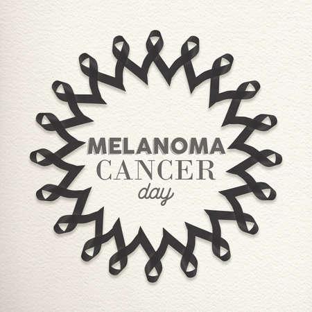 melanoma: Melanoma cancer day mandala design made of black ribbons with typography for awareness support. Stock Photo
