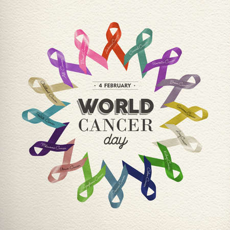 World cancer day design made with different color ribbons for awareness support.