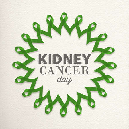 cancer ribbons: Kidney cancer day mandala design made of green ribbons with typography for awareness support. Stock Photo