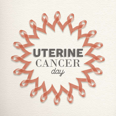 pink ribbons: Uterine cancer day mandala design made of peach pink ribbons with typography for awareness support.