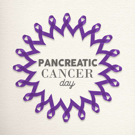 awareness ribbons: Pancreatic cancer day mandala design made of purple ribbons with typography for awareness support.