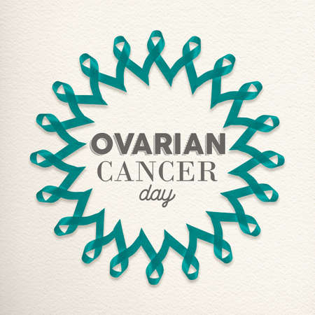 awareness ribbons: Ovarian cancer day mandala made of teal blue ribbons with typography for awareness support. Stock Photo