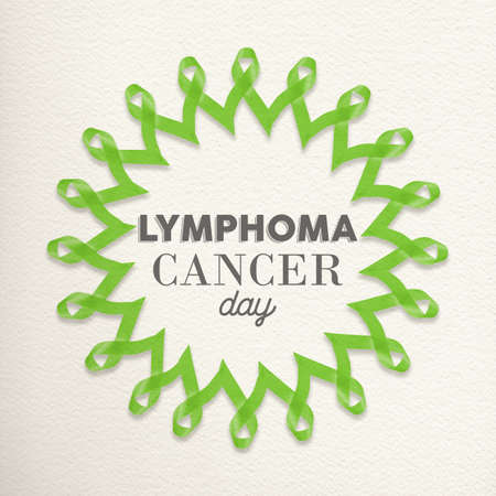awareness ribbons: Lymphoma cancer day mandala made of lime green ribbons with typography for awareness support.