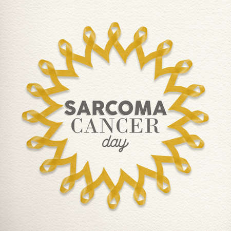 awareness ribbons: Sarcoma cancer day mandala design made of yellow ribbons with typography for awareness support.