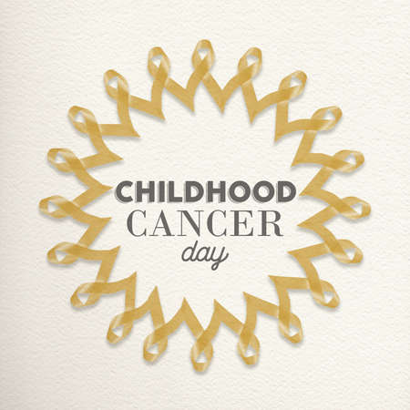 sign  childhood: Childhood cancer day mandala design made of gold yellow ribbons with typography for awareness support. Stock Photo