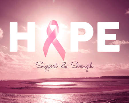 Breast cancer awareness design with hope text quote and ribbon over pink beach landscape background. Stock Photo