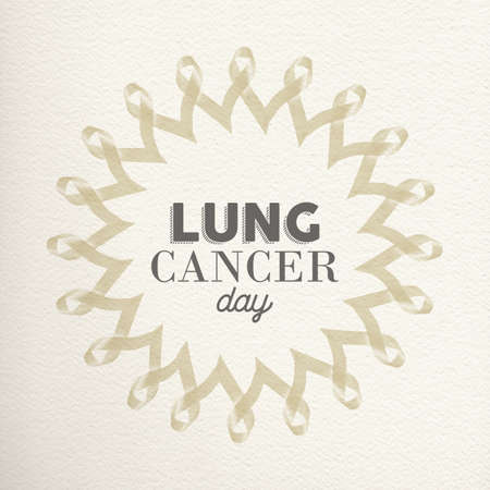 awareness ribbons: Lung cancer day mandala design made of white ribbons with typography for awareness support.