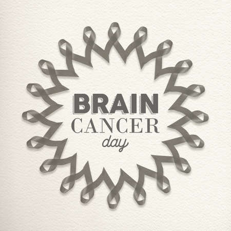 awareness ribbons: Brain cancer day design made of grey ribbons with typography for awareness support.