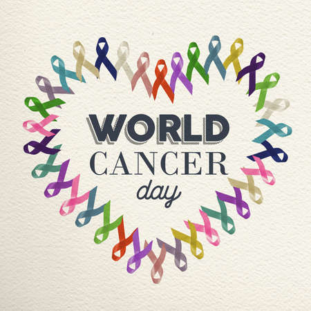 World cancer day heart shape design made with different color ribbons for support. Stock Photo