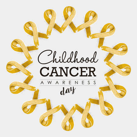 awareness ribbons: Child cancer awareness typography design with mandala made of gold yellow hand drawn ribbons. vector.
