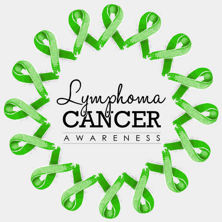 cancer ribbons: Lymphoma cancer awareness typography design with mandala made of lime green hand drawn ribbons. vector. Illustration