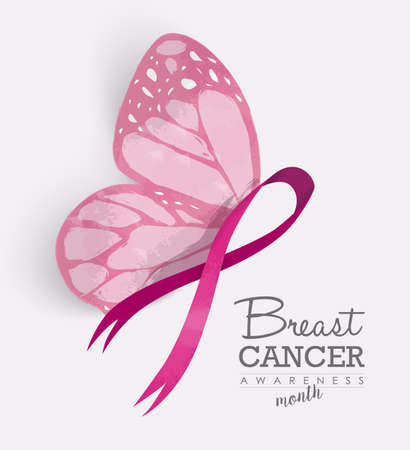 breast: Breast cancer awareness month with pink butterfly wings on ribbon for support campaign. EPS10 vector.