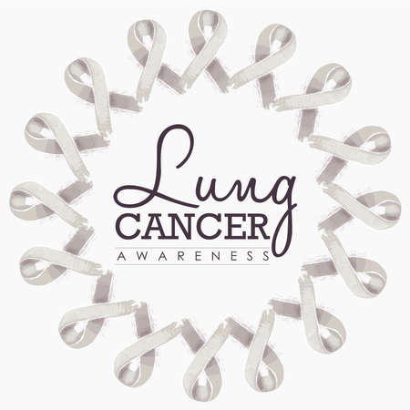 awareness ribbons: Lung cancer awareness typography design with mandala made of white hand drawn ribbons. vector.