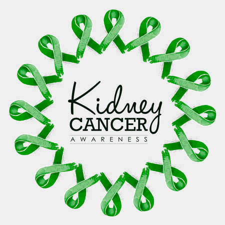 awareness ribbons: Kidney cancer awareness typography design with mandala made of green hand drawn ribbons. vector. Illustration