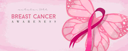 Breast cancer day banner with pink butterfly and awareness ribbon illustration. EPS10 vector.   