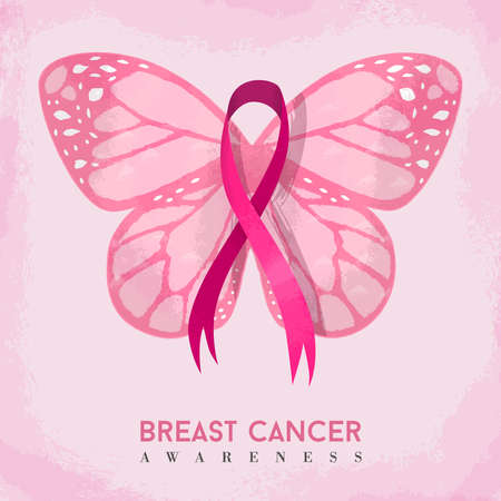Pink butterfly with cancer awareness ribbon, hand drawn style illustration for support. EPS10 vector.