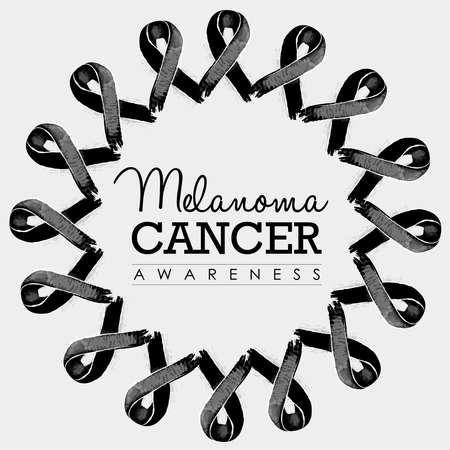 cancer du mélanome conception de typographie de sensibilisation avec mandala fait de rubans dessinés à la main noire. vecteur.