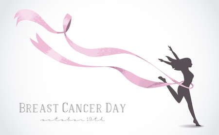 Healthy woman silhouette with pink ribbon in support of breast cancer awareness day. EPS10 vector.
