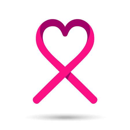 Ruban rose avec la forme de coeur pour le soutien de la sensibilisation au cancer du sein. vecteur EPS10.
