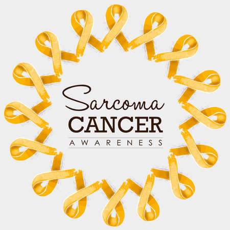 awareness ribbons: Sarcoma cancer awareness typography design with mandala made of yellow hand drawn ribbons. vector.