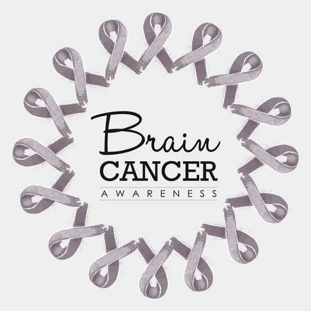 brain cancer: Brain cancer awareness typography design with mandala made of grey hand drawn ribbons. vector. Illustration