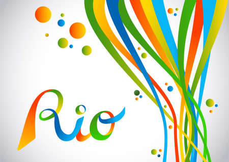 janeiro: Colorful rio de janeiro design with text and abstract shapes Illustration