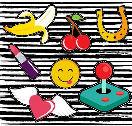 Set van leuke patches of stickers illustraties met leuke cartoon-elementen.