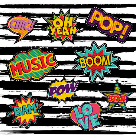 Conjunto de pegatinas de texto de arte pop o diseños de parche con 80s retro burbujas de discurso del cómic. vector.