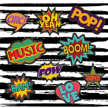 Set von Pop-Art-Text Aufkleber oder Patch-Designs mit Retro-80er Comic Sprechblasen. Vektor.