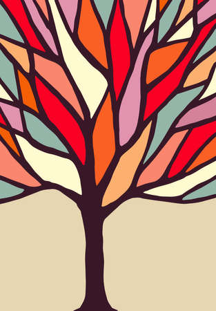 Abstract tribal color concept tree illustration with colorful branches, ideal for creative environment awareness design. vector. Ilustracja