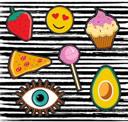 Cute set of cartoon patch designs, colorful illustrations for sticker decoration or embroidery.