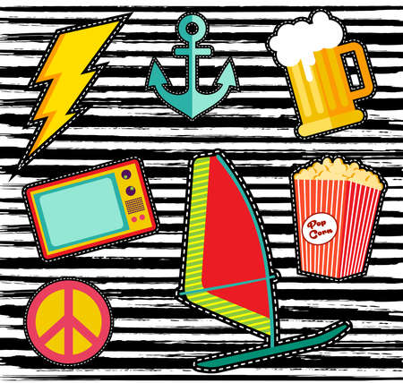 retro style: Set of fashion cartoon patches or stickers with colorful illustration designs.