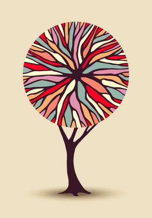 Abstract begrip boom illustratie met kleurrijke geometrische vorm takken ideaal voor creatieve omgeving bewustwording project of diversiteit design. vector. Vector Illustratie