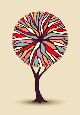 Abstract concept tree illustration with colorful geometric shape branches ideal for creative environment awareness project or diversity design. vector.