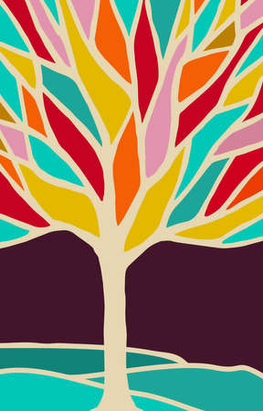 illustration abstract: Colorful tree illustration with diversity color branches, concept nature art for environment awareness design or creative projects. vector.