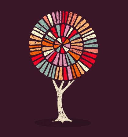 Concept tree illustration with colorful ethnic style decoration and grunge texture. vector.