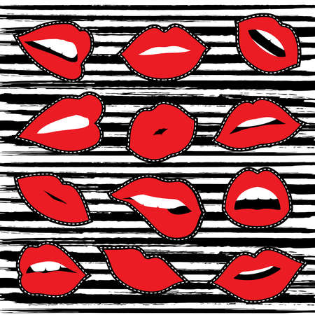 Set of women red lipstick illustrations in different emotions and gestures for embroidery patch or sticker.