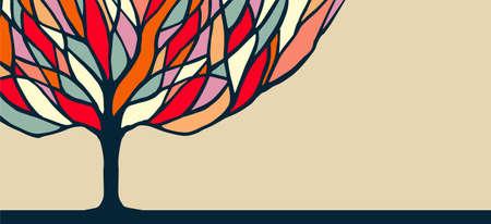Projeto abstrato da bandeira da árvore do conceito com ramos coloridos, ilustração da natureza da diversidade. vetor. Ilustración de vector