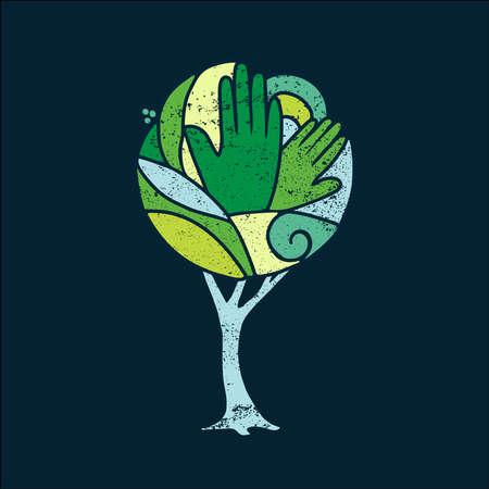 arte concepto del árbol colorido con las manos verdes y diseño de la naturaleza para el ambiente de la ayuda social. vector.
