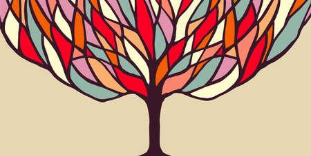 Concepto de diseño de banner árbol con ramas de colores, la naturaleza abstracta del arte ideal para la ilustración o la diversidad proyecto de sensibilización sobre la ecología. vector.