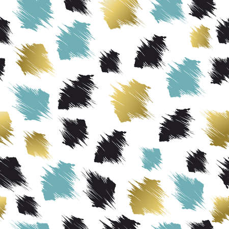 smudge: Abstract seamless pattern with paint smudge style shapes in gold and blue colors. Illustration