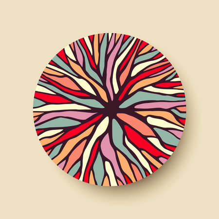 Abstract geometric circle shape with colorful tree branch illustration ideal for creative diversity design. vector.