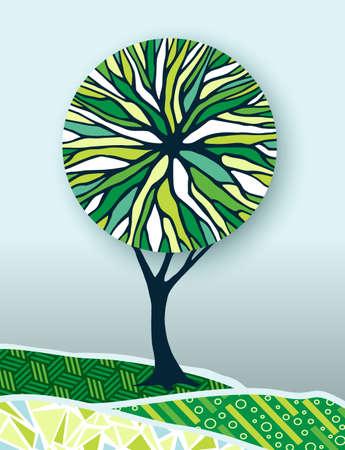 Boom concept illustratie met abstracte kleurrijke omgeving ontwerp ideaal voor groene energieprojecten. vector.