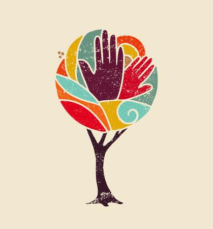 Arte colorido del árbol del concepto del grunge con las manos de las personas y el diseño de la naturaleza para la diversidad social, ayuda del medio ambiente. vector.