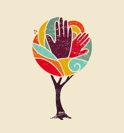 Colorful grunge concept tree art with people hands and nature design for social diversity, environment help. vector.
